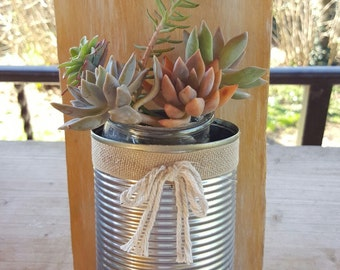 Succulent plant decor jar-Home-natural-wood-Furniture-recycling vase decorated Shabby-Love Nature