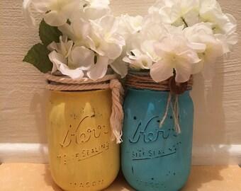 2 Distressed Mason Jars