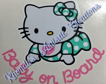 Hello Kitty inspired Baby on Board vehicle decal