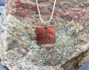 Copper Star Charm on Sterling Silver Necklace