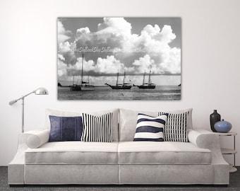 Tallships, Black and White, Oversize Wall Art Nautical Print Fine Art Photography Ocean Sailing Catamaran Travel Islands USVI