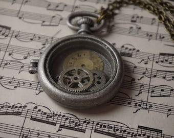 Steampunk Pocket Watch Necklace, pendant, women's gift, jewelry