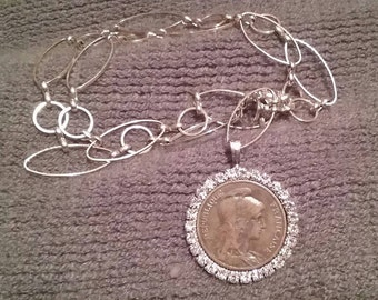 French Coin Rhinestone Bezel Necklace