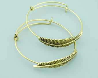 5pcs 65mm Brass Feather Cuff,Feather Bracelet,Feather Bangle CZ001
