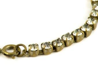 Czech Rhinestone bracelet 1950s antique silver tone