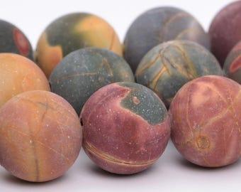 "10MM Matte Picasso Jasper Natural Gemstone Half Strand Round Loose Beads 8"" (101087h-315)"