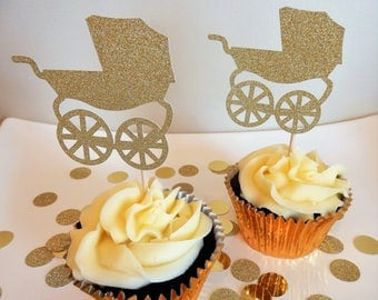 12 x Gold Pram Glitter Cupcake Toppers - Double sided. Baby Shower Decorations, Handcrafted