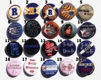 INSPIRED BY TV's Riverdale - pinback buttons. Designs featuring Andrews Construction, Jughead and Riverdale high and more.