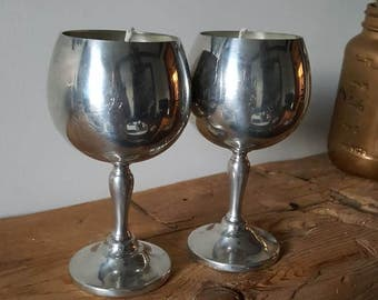 Vintage Metal Wine Goblets