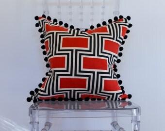 Red and Black Geo Print Decorative Pillow 18x18 with Pom Pom Trim