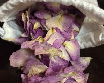 Dried rose petals-organic dried rose petals-organic rose petals-purple rose petals-farewell toss-light pink rose petals-Mothers Day gifts