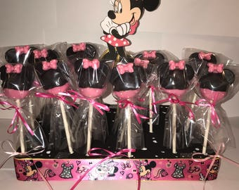Add on item ONLY! Minnie Mouse Inspired Cake Pop Stand Holder - fits up to 64 cake pops Pink Black Red