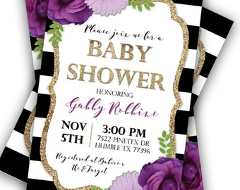 purple floral and stripes baby shower invitation