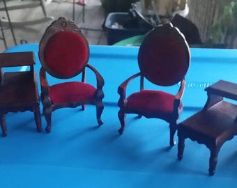 1:12 miniature chair and table set