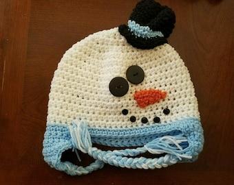Blue snowman crochet hat