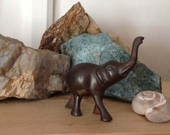 Miniature Brass or Bronze Asian Elephant w Raised Trunk - Good Luck Figurine