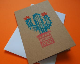 Cactus, Mexico, Death Valley A6 Lino Print Kraft Card with envelope, birthday, travel, day of the dead, succulent, moving, adventure