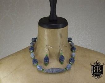 Jewellery set necklace earrings Jeans Denim Blue Green