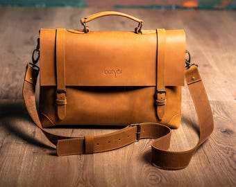 """Leather bag Messenger """"Old America Classic"""" HANDMADE Briefcase Laptop, Light brown, Laptop Messenger Bag, Shoulder Bag, Leather Briefcase"""