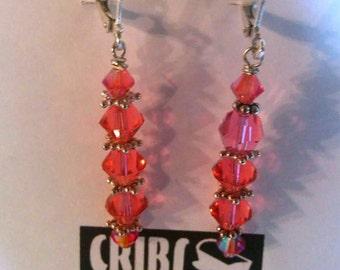 Pink dangle shepherdhook earrings
