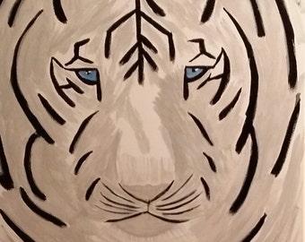 Black & White Tiger Acrylic Painting