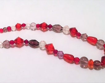 Red and Purple Beaded Necklace