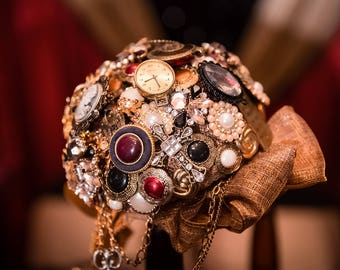 Vintage Steampunk Brooch Bouquet
