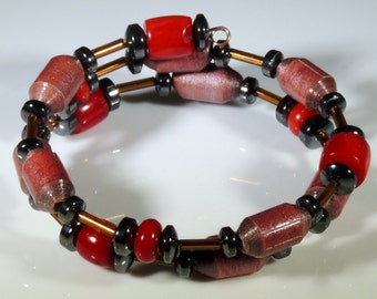Red Dawn (Upcycled Paper Bead Bracelet/SB0003)