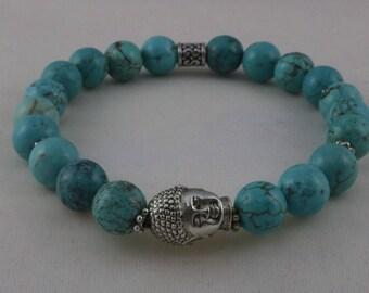 Yoga bracelet, Buddha Head Bracelet, Turquoise Beaded Natural Stone