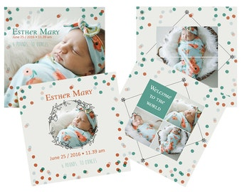 INSTANT DOWNLOAD Photoshop Birth announcement template