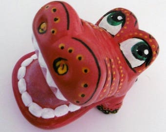 Hand painted money bank - Aztec Crocodile