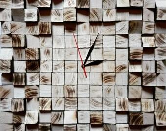 Clock design in burnt wood