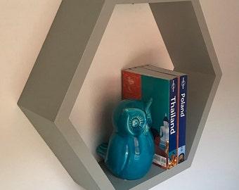 "Large 18"" Beehive Hexagon Wall Book Shelf"