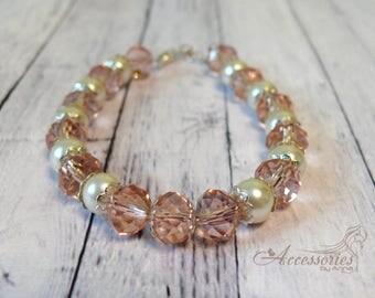 Crystal bracelet Swarovski crystal Preciosa beads Pink bead bracelet Swarovski bracelet Multi color bracelet Feminine bracelet Bridal