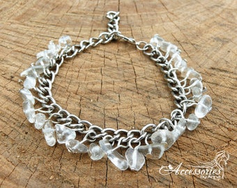 Rhinestone bracelet White bracelet White rhinestone Clear bracelet Dove bracelet Gemstone bracelet Gemstone jewelry Gemstone chip Rhinestone