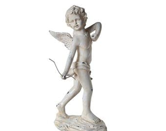 "24"" Distressed Ivory Cherub Angel with Bow Outdoor Patio Garden Statue - ITEM# 32230520"