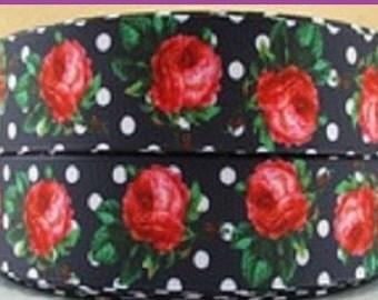 1 x Metre, ROCK A BILLY, FLOWERS, 7/8, 22mm, Garden, Grosgrain. Ribbon, Craft, Sewing
