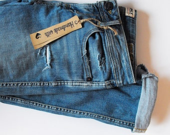 vintage diy jeans low waist ripped distressed destroyed jeans