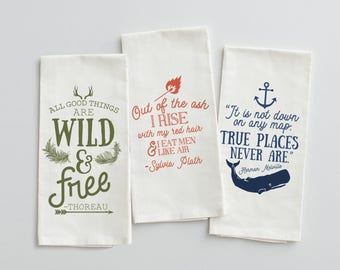 Ecelectic Writer Quotes Set of 3 Tea Towels, Herman Melville, Thoreau, Sylvia Plath, Inspirational Writers Kitchen Linens