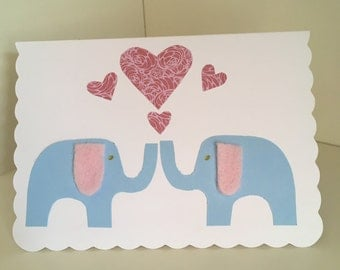 Home made elephant in love occasion card