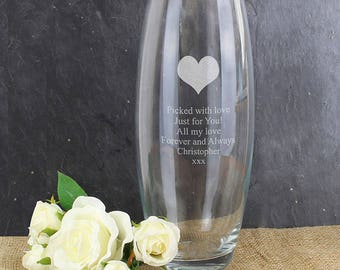 Personalised Heart Glass Bullet Vase Birthday Anniversary Mothers Valentines Day Wedding Gifts Idea