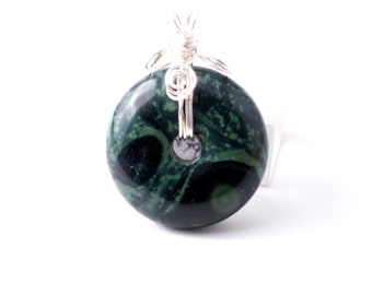 Serpentine Disc Pendant with Sterling Silver Wrap