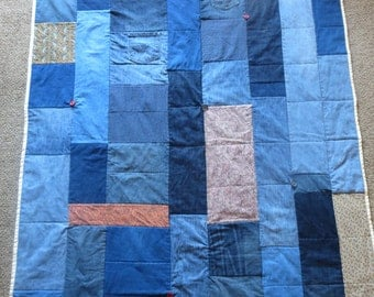Handmade Denim Quilt Upcycled Jeans Gees' Bend Inspired