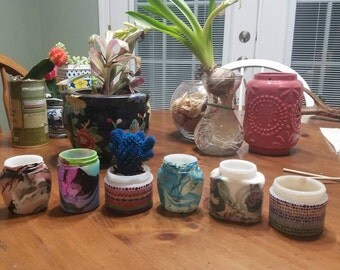 Recycled 1940s ponds jars, vases/candle holders
