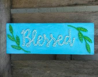 Handmade Blessed String Art Home Decor Block Sign