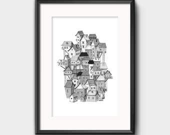 Black and White City Houses Art Illustration Print