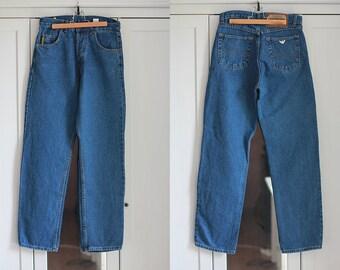 GIORGIO ARMANI Jeans Dark Blue Denim Vintage High Waisted Fit Trousers Classic Unisex Men Women Clothing High Fashion / W29 / Medium size