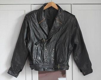 Black Biker Jacket Vintage Genuine Leather Grunge Zippers Gold Retro 1980s Rock n Roll Look Unisex Women Men / Large size
