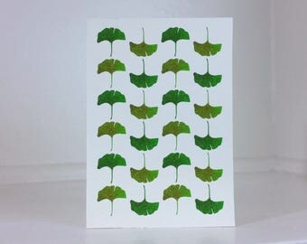 """Instant Download - Printable Greeting Card - Green Ginkgo Leaves- Blank Inside - 3.5""""x5"""""""