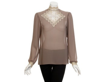 Albert Nipon Collectible - Vintage Lace Puff Sleeve Blouse - Size 8